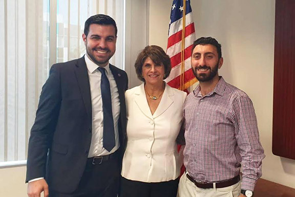 ANCA-WR Government Relations Coordinator Serob Abrahamian and Government Affairs Director Arsen Shirvanyan meet with Rep. Roybal-Allard