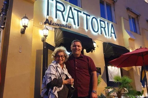 Catherine with the owner of the Italian Trattoria