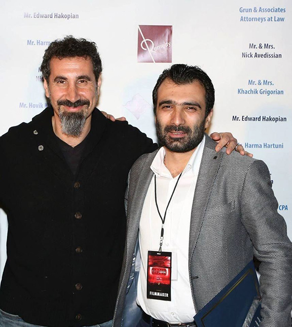 "Serj Tankian (left), photographed here with Avetisyan, wrote the musical score for ""The Last Inhabitant."" (Photo: Yerkir.am)"