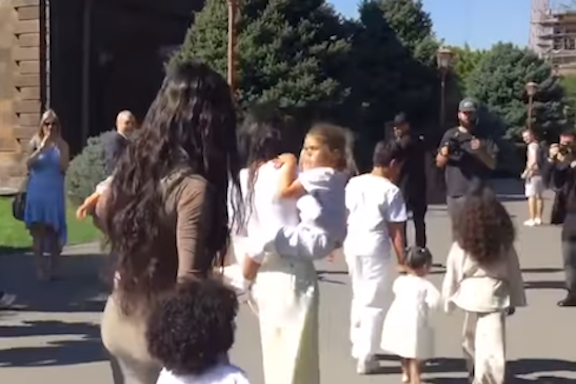 The Kardashian sisters at Etchmiadzin on Oct. 7