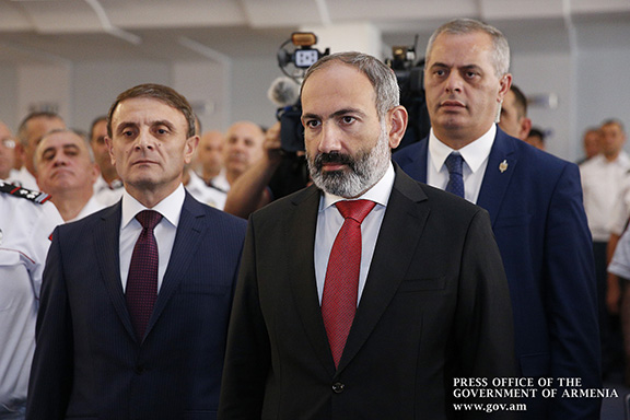 Valery Osipyan (left) who was fired from his post on Oct. 8, with Prime Minister Nikpl  Pashinyan