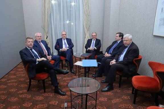 A scene from a recent meeting of Armenian and Azerbaijani foreign ministers with the OSCE Minsk Group co-chairman