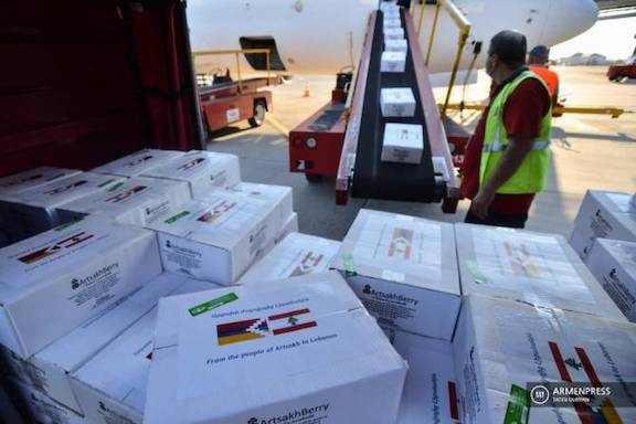 Aid from Artsakh was part of the humanitarian flight to Lebanon