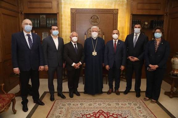 An Armenian government delegation headed by Diaspora Commissioner Zareh Sinanyan met with Catholicos Aram I in Antelias on Aug. 9