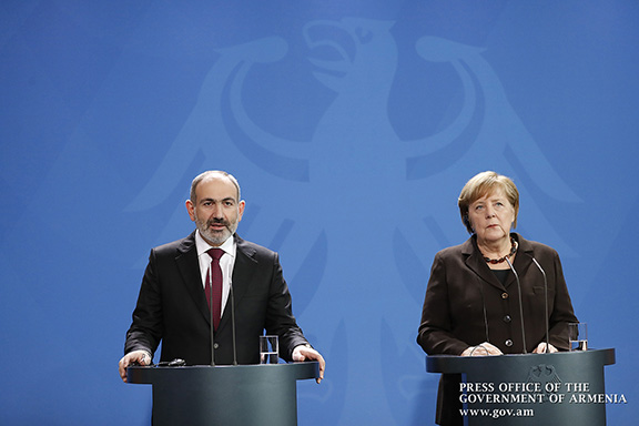 Prime Minister Nikol Pashinyan at a press conference in Berlin with German Chancellor Angele Merkel