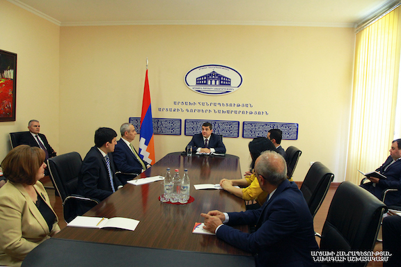 Artsakh President Arayik Harutyunyan at the Artsakh Foreign Ministry with the newly-reappointed Masis Mayilyan