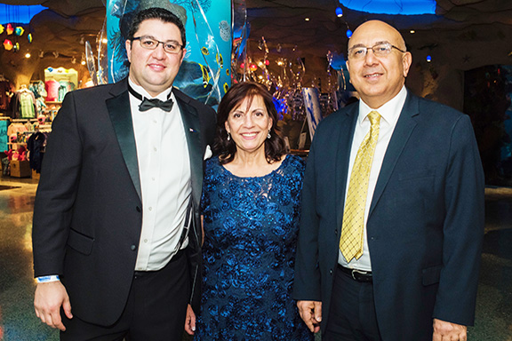 From left: AOC Board Vice President Byuzand Yeremyan and President Sona Hedeshian with Consul General of Armenia Dr. Armen Baibourtian at the AOC 40th Anniversary Gala, who gave the keynote address (Photo by Evan Semón)