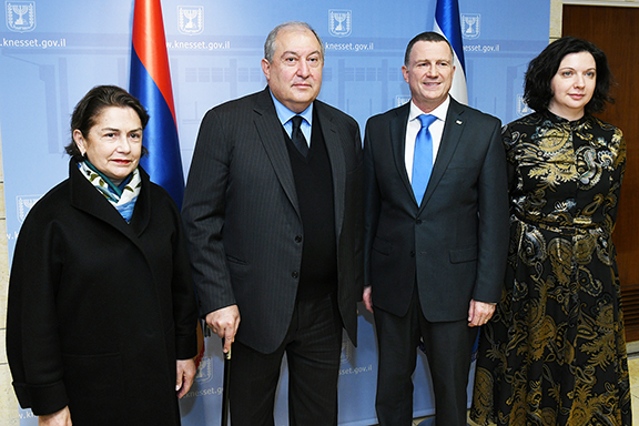 From left: First lady Nouneh Sarkissian, President Armen Sarkissian, Knesset Speaker Yuli Edelstein, and his wife, Irina Nevzlin