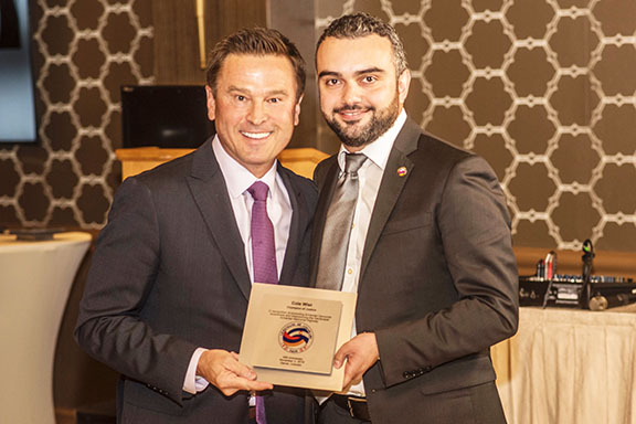 State Representative Cole Wist receives the AOC Champion of Justice Award, presented by ANCA Western Region's Simon Maghakyan, for the legislative sponsorship of the Sardarapat Armenian Memorial Highway at the AOC 40th Anniversary Gala (Photo by Evan Semón)