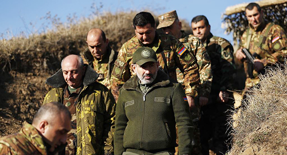 Artsakh President Bako Sahakian and Prime Minister Nikol Pashinyan visit northern border posts in Artsakh on Monday