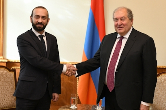 President Armen Sarkissian (right) with Parliament Speaker Ararat Mirzoyan at a meeting in December 2019