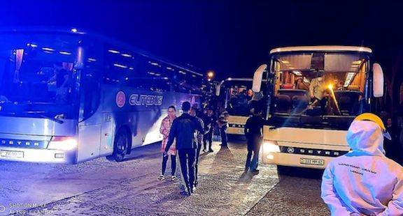 Buses carrying Armenian passengers from Turkey en route to Armenia stop in Georgia on May 22