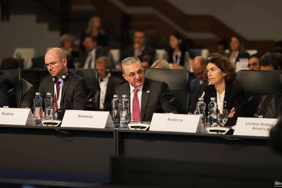 Armenia's Foreign Minister Zohrab Mnatsakanyan at the OSCE Foreign Ministerial Conference in the Slovak capital of Bratislava