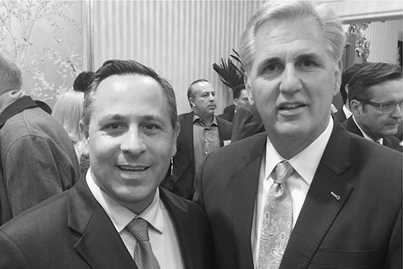 Minority Leader Kevin McCarthy (R-CA) with ANCA Chairman Raffi Hamparian discussing Congressional support for Armenian Genocide legislation