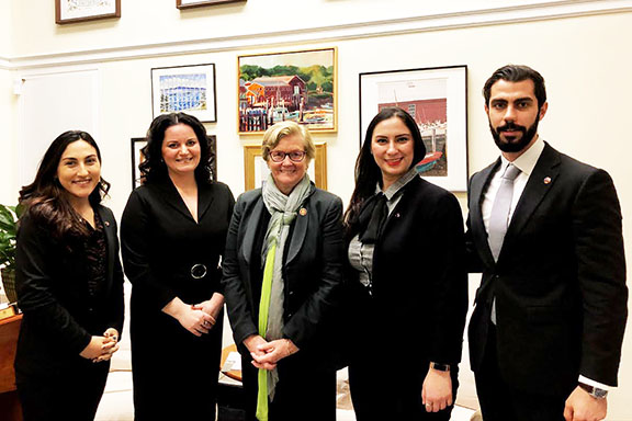 Author and human rights advocate Anna Astvatsaturian Turcotte with House Appropriations Committee member Chellie Pingree (D-ME), and ANCA Government Affairs Director Tereza Yerimyan, and ANCA Capital Gateway Fellows Ani Mard and Arameh Vartomian