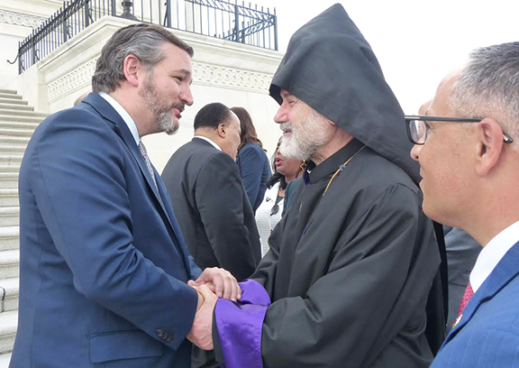 Sen. Ted Cruz (R-TX) with Eastern Prelate Archbishop Oshagan Choloyan, and ANCA Chairman Raffi Hamparian on steps of the U.S. Capitol