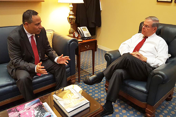 ANCA Chairman Raffi Hamparian discussing S.Res.150 and a broad range of Armenian American community priorities with Senate Foreign Relations Committee Ranking Member Robert Menendez (D-NJ)