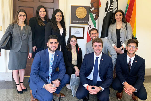 The 2019 ANCA Leo Sarkisian interns and Maral Melkonian Avetisyan fellow are welcomed at the offices of Rep. TJ Cox (D-CA), who led an amendment calling for continued U.S. assistance for Artsakh in June, 2019