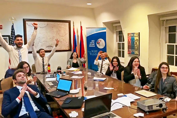 The 2019 ANCA Leo Sarkisian interns and Maral Melkonian Avetisyan fellow celebrating passage of the Speier and Cox amendments to the FY2020 Foreign Aid Bill, which called for expanded aid to Armenia and Artsakh