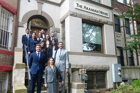 The 2019 ANCA Leo Sarkisian interns and Maral Melkonian Avetisyan fellow on the first day of their summer program, pictured in front of the ANCA Aramian House, a 4,000 sq. ft. Victorian-style brownstone located in the heart of Washington, DC which, at full capacity, can house up to 18 students and career seekers