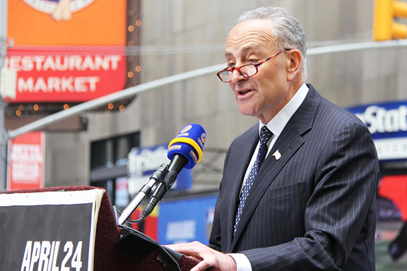 Sen. Chuck Schumer, seen here offering remarks at the annual Armenian Genocide Observance in Times Square, has been a perrenial advocate of Armenian Genocide legislation