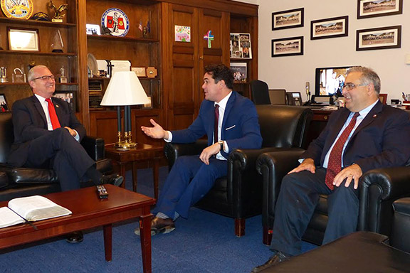 A scene from then-Rep. Kevin Cramer's meeting regarding Armenian Genocide legislation (H.Res.220) with actor and producer Dean Cain and the ANCA's Aram Hamparian in September, 2017