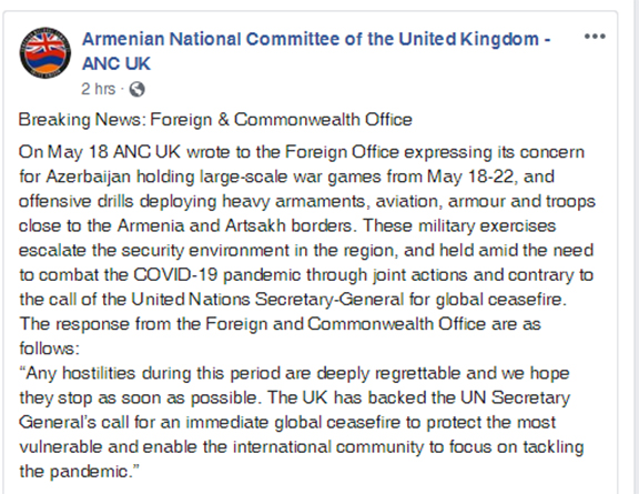 ANC UK post on Foreign Office response to Azerbaijani war games