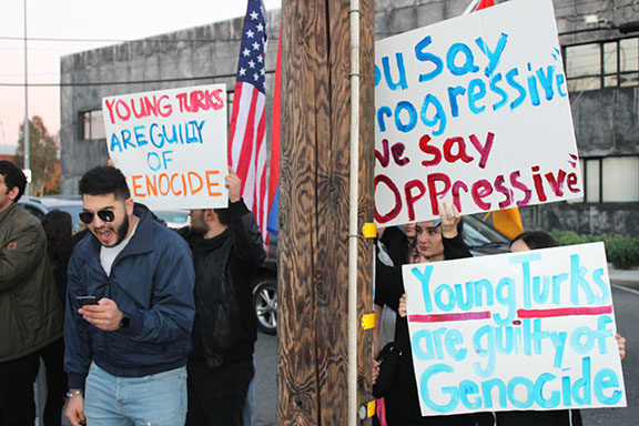 Scenes from the AYF's protests outside of The Young Turks' studio in Culver City
