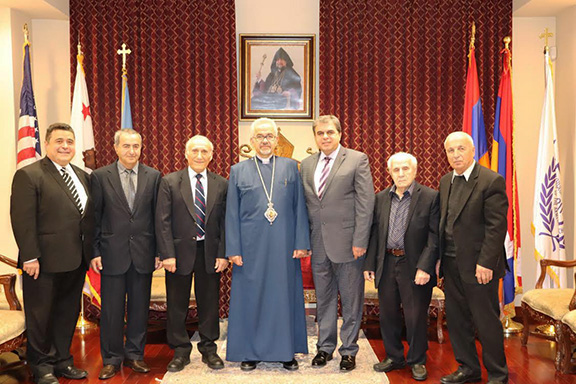 Western Prelate Archbishop Moushegh Mardirossian with members of the Armenian Ecclesiastical Brotherhood