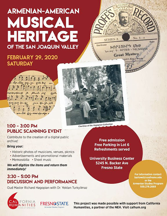 Fresno State's event highlighting Armenian-American music of the San Joaquin Valley will be held on Feb. 29