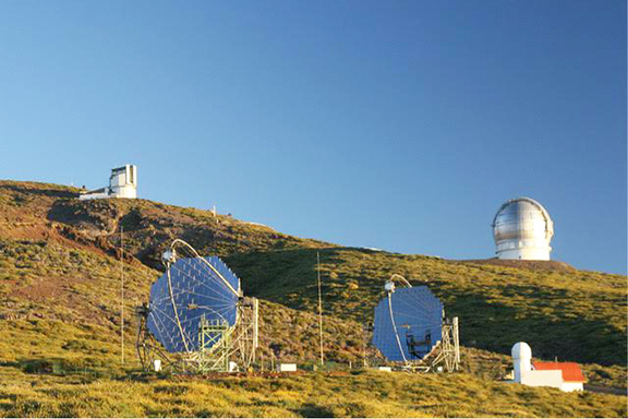 Twin MAGIC-Telescopes (Major Atmospheric Gamma-Ray Imaging Cherenkov Telescopes) at La Palma, Canarias