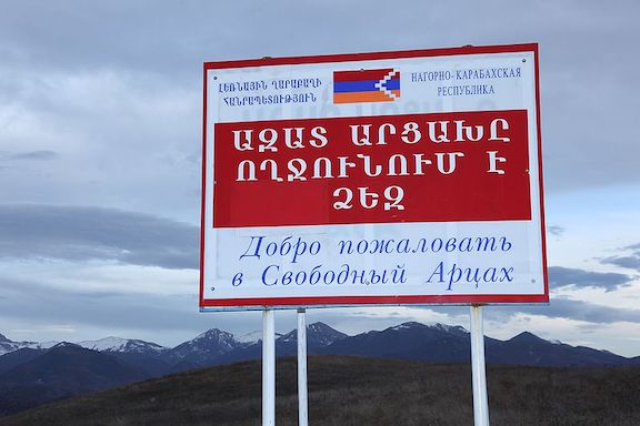 A sign welcoming visitors to Artsakh