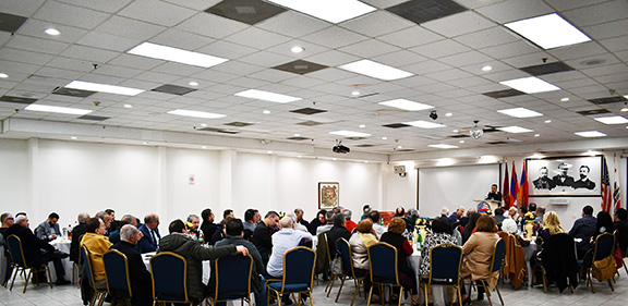 Montebello community members gather at the Armenian center to meet with ARF Supreme Council of Armenia chairman Ishkhan Saghatelyan