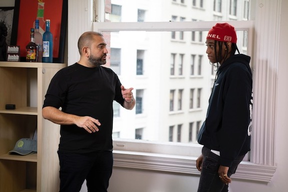 Saro D with the rapper Lil West, one of the artists signed to Saro D's label (Nomad Music Group) and to Republic Records (part of Universal Music)