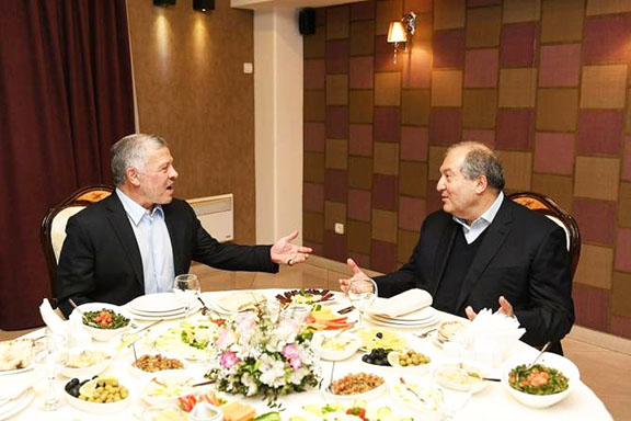 Scenes from King Abdullah II of Jordan and President Armen Sarkissian's dinner at Yerevan's Derian restaurant