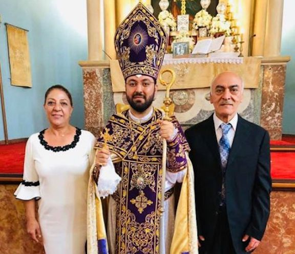 Prelacy VIcar-General Bishop Torkom Donoyan with his late father, Krikor, and his mother, Adrine