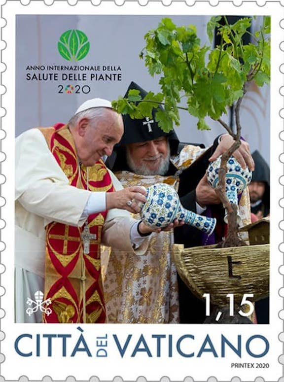 The Vatican issued another stamp marking the Pope's 2016 visit to Armenia