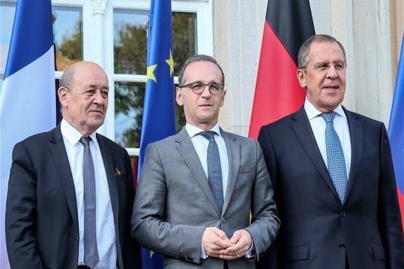 From left foreign ministers  Jean-Yves Le Drian (France), Heiko Maas (Germany) and Sergei Lavrov (Russia)