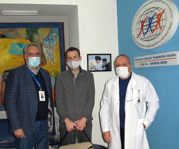 From left: ABMDR Executive Director Dr. Sevak Avagyan, the special courier who took the harvested stem cells to Germany, and ABMDR Medical Director Dr. Mihran Nazaretyan.