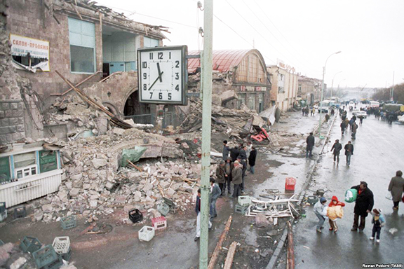 A clock stopped at 11:38 on Dec, 7, 1988 when the earthquake hit Spitak