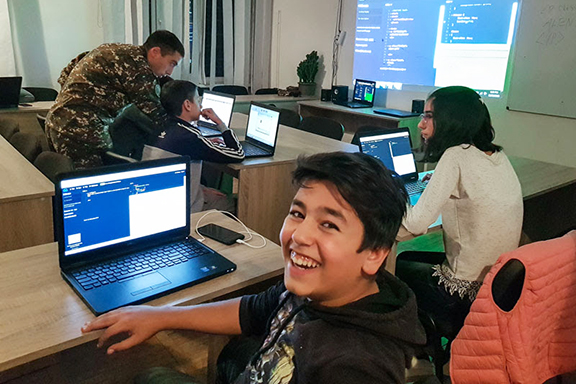 Hayk has decided to give back to TUMO by teaching students coding