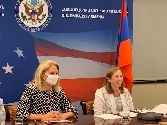 U.S. Ambassador to Armenia Lynne Tracy (right) with U.S. Deputy Assistant Secretary of State for Democracy, Human Rights, and Labor Kara C. McDonald