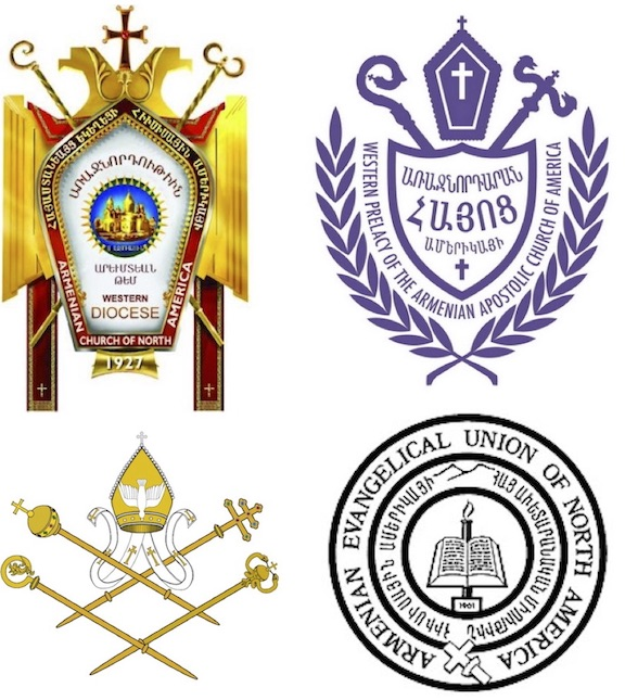 Clockwise from top left: Western Diocese of the Arm. Apostolic Church;  Western Prelacy of the Arm. Apostolic Church; the Armenian Evangelical Union of N. America; and the Armenian Catholic Eparchy of the U.S. & Canada
