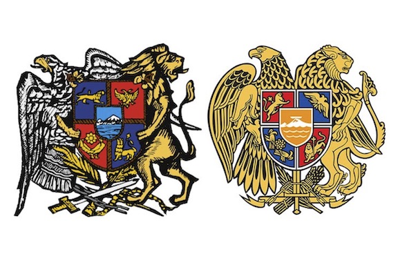 The historic (left) and current coats of arms of Armenia