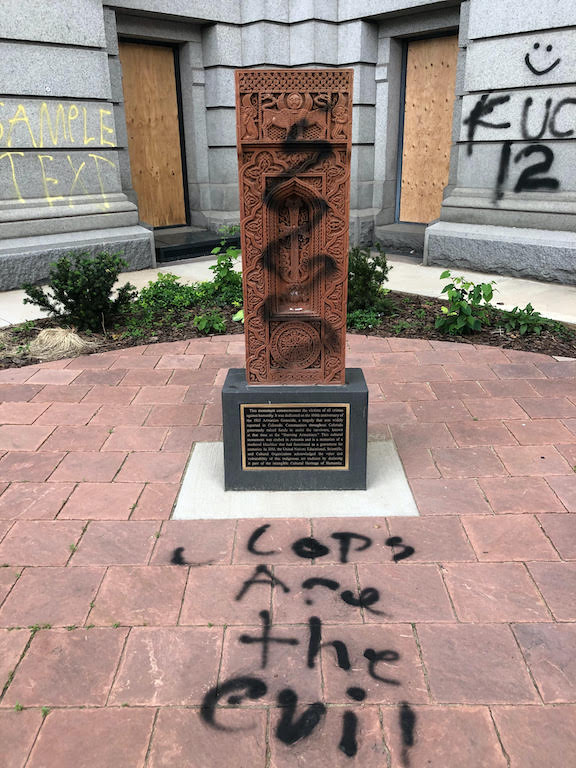 Colorado State Capitol Khachkar memorial to the Armenian Genocide was vandalized during protests in Devnver